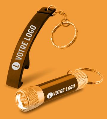 Porte-clés lampe torche publicitaires avec logo gravé au laser