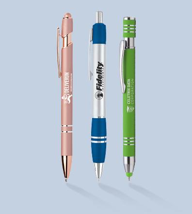 Paragonpenne med firmalogo og tekst