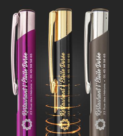 Stylos métal publicitaires gravés au laser