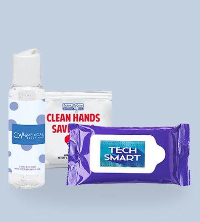 Reklamní antibakteriální gely na ruce a desinfekce